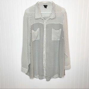 Torrid Polka Dot Striped Sheer Blouse Size 3x